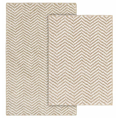 Palazzo II Tan/White Washable Bathroom Rug Set