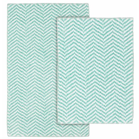 Palazzo II Sea Foam/WhiteWashable Bathroom Rug Set