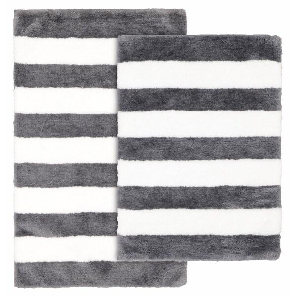Shop Beach Stripe Cinder/White Washable Bathroom Rug Set ...