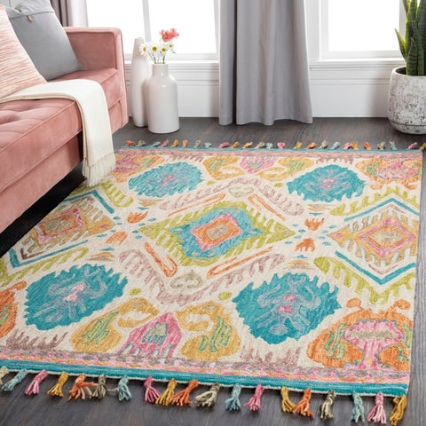 Addison Boho Ikat Wool Area Rug