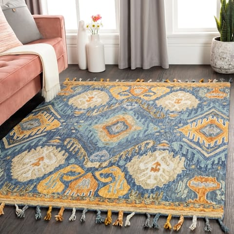 Porch & Den Lippert Boho Ikat Wool Area Rug