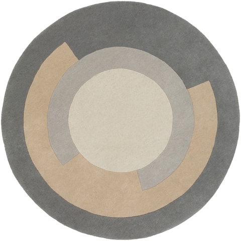 Abbes Mid-Century Round Wool Area Rug