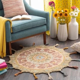 Danai Boho Paisley Round Wool Area Rug