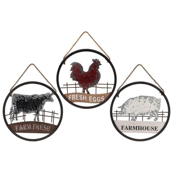 UTC40880-AST: Metal Round Wall Art with Farmhouse Theme Design Body Tarnished Finished Copper - Multi-Color