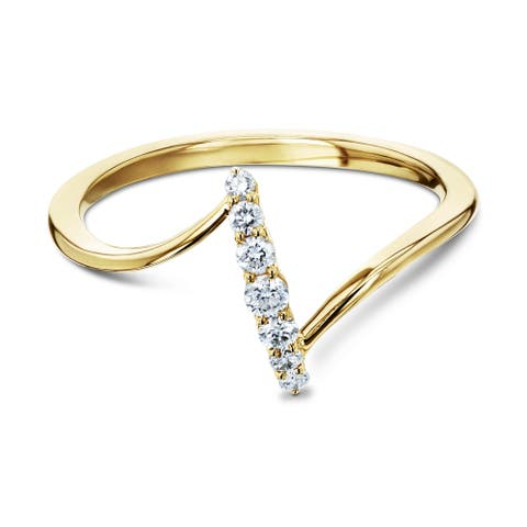 Annello by Kobelli 10k Yellow Gold 1/8ct TDW Diamond Z-Shaped ZigZag Minimalist Fashion Ring