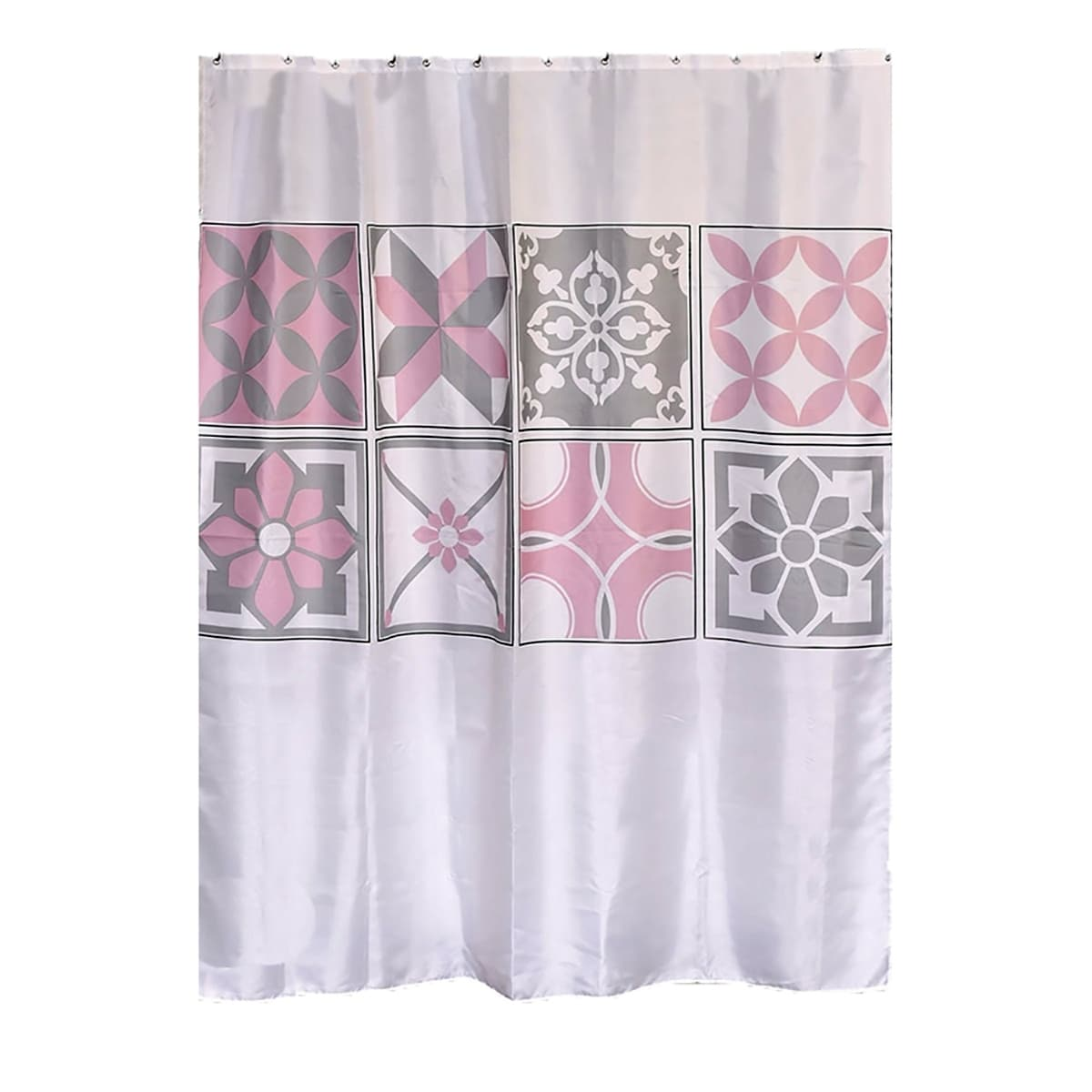 Bastide Printed Polyester Fabric Shower Curtain White Pink Grey