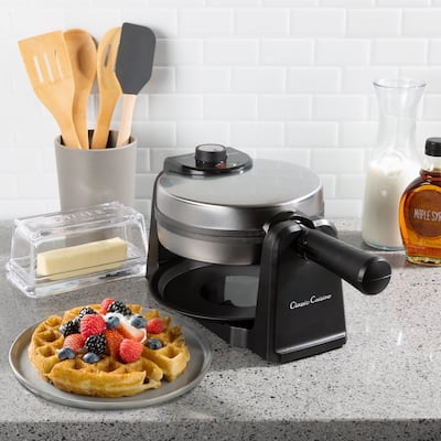 Waffle Iron-Classic 180 Rotation Flip Waffle Maker with Nonstick Plates, Removable Drip Pan, Folding Handle by Classic Cuisine