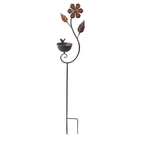 Transpac Metal Silver Spring Flower Yardstake with Bird Feeder
