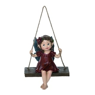 Transpac Resin Small Red Spring Enchanted Garden Swinging Fairy Figurine