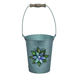 Transpac Metal  Silver Spring Happy Flower Planter