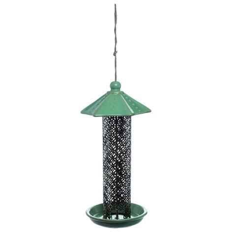 Transpac Ceramic Tall Green Spring Decorative Birdfeeder