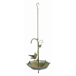 Transpac Metal  Green Spring Hanging Umbrella with Bird Bird Feeder