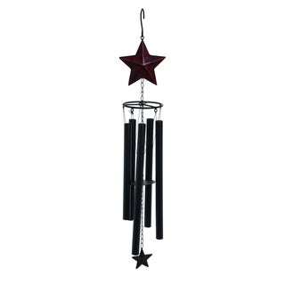 Transpac Metal  Pewter 4th of July Rustic Star Wind Chime