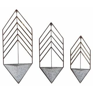 Transpac Metal  Silver Spring Geometric Nested Planters Set of 3