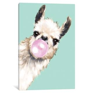 """iCanvas """"Sneaky Llama Blowing Bubble Gum In Green"""" by Big Nose Work"""