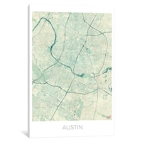 "iCanvas ""Austin Vintage Blue Watercolor Urban Blueprint Map"" by Hubert Roguski"