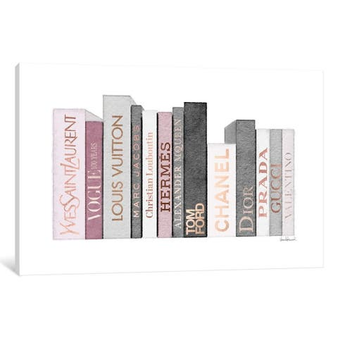 """iCanvas """"Book Shelf Full Of Rose Gold, Grey, And Pink Fashion Books"""" by Amanda Greenwood"""