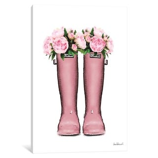 """iCanvas """"Hunter Boots In Pink & Pink Peonies"""" by Amanda Greenwood"""