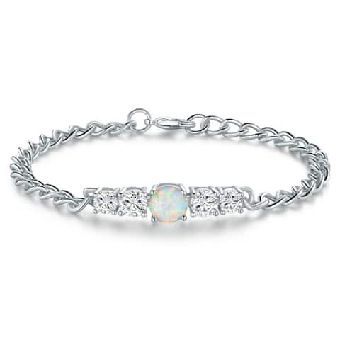 Rhodium Plated Lab Created Fire Opal Tennis Bracelet