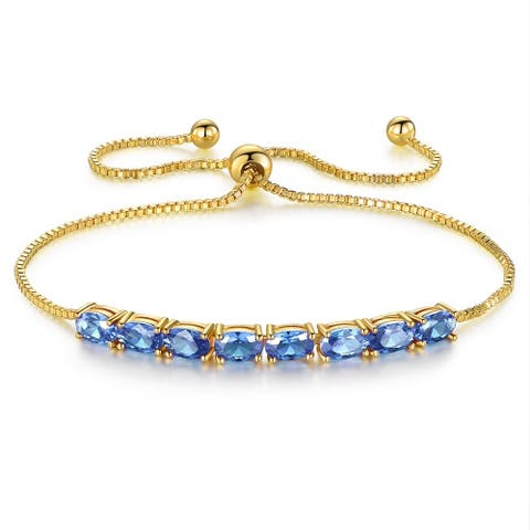 Gold Plated Lab Created Tanzanite Tennis Bracelet