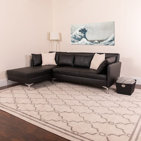 Lancaster Home Black Faux Leather L-shaped Sectional Chaise