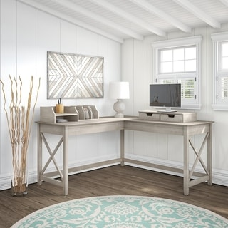 The Gray Barn Hickory Place L-shaped Desk with Desktop Organizers