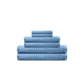 Textured 6-Piece Combed Cotton Bath Towel Set