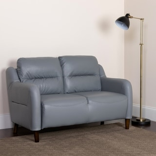 Upholstered Bustle Back Loveseat in LeatherSoft - Living Room Furniture