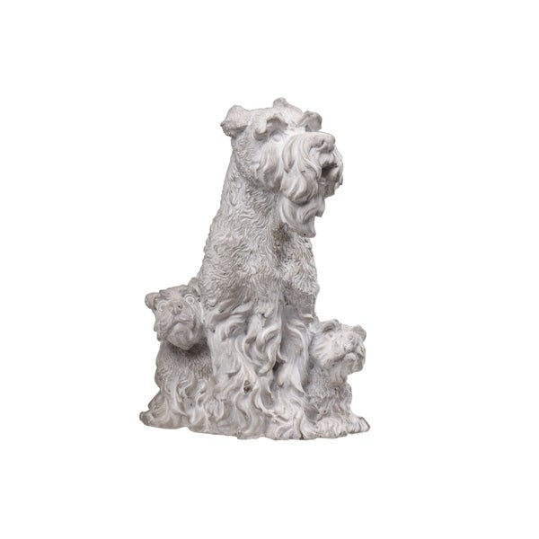 UTC35754: Cement Sitting Scottish Terrier Dog Statue with Puppies Washed Finish Gray