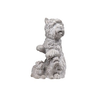 UTC35753: Cement Sitting Cairn Terrier Dog Statue with Puppies Washed Finish Gray
