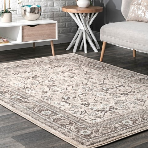 Copper Grove Perchtoldsdorf Persian Floral Border Area Rug