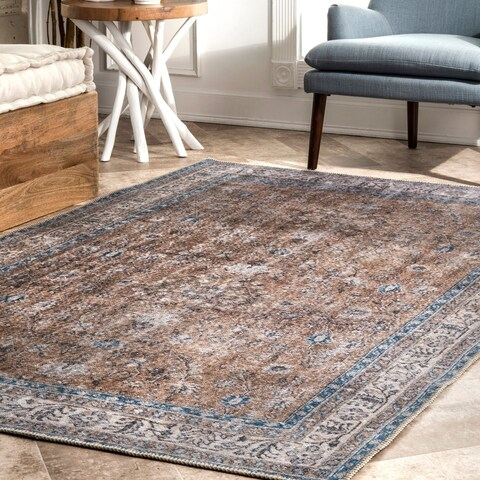 Copper Grove Zenica Vintage Faded Floral Area Rug