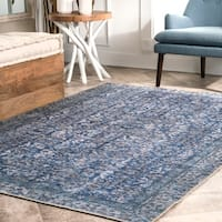 nuLOOM Flatweave Vintage Faded Dariana Chenille Damask Bloom Border Area Rug