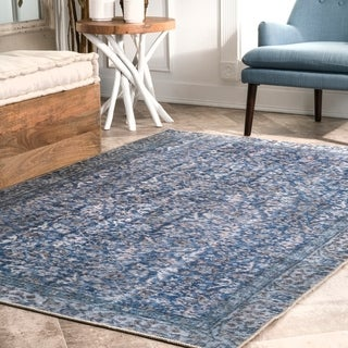 Porch & Den North Pecos Flatweave Chenille Faded Damask Bloom Area Rug