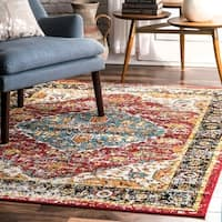 nuLOOM Traditional Indoor/ Outdoor Vintage Bloom Border Area Rug