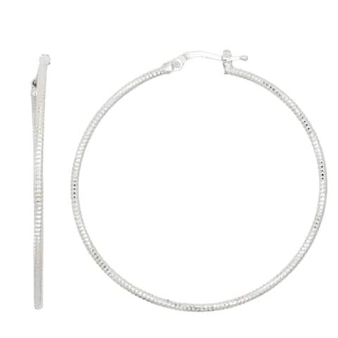 Isla Simone Sterling Silver 40MM Sparking Cut Hoop Earring