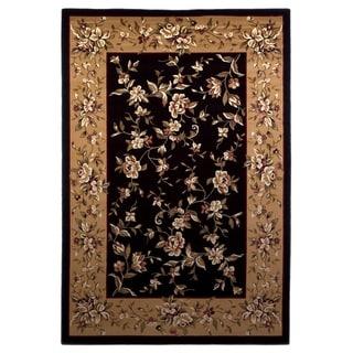 Domani Lexington Black/Beige Traditional Floral Area Rug