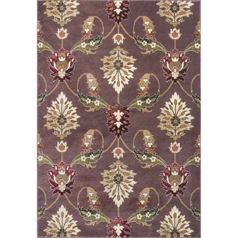 Copper Grove Veit Floral Plum Classic Area Rug