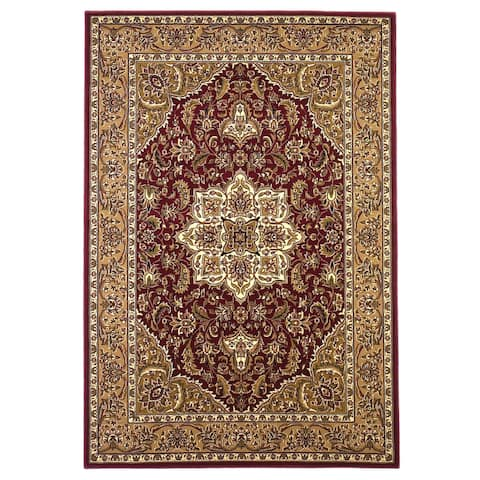 Domani Lexington Traditional Red/Beige Moroccan Medallion Area Rug