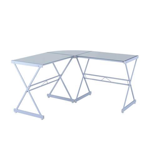 Modern Designs Tempered Glass L-Shaped Computer Desk Workstation