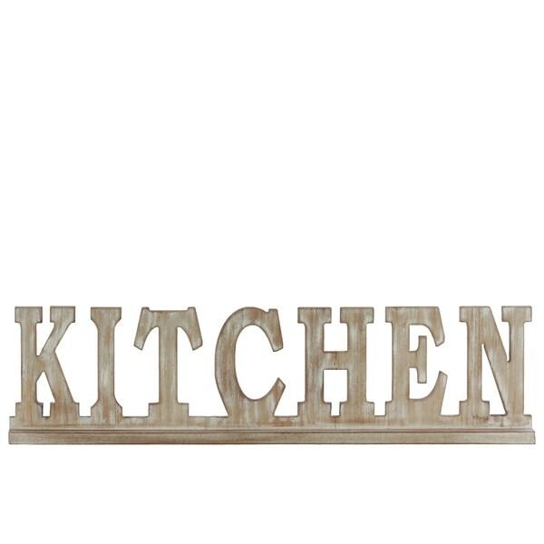 """UTC32365: Wood Alphabet Decor """"KITCHEN"""" on Base Weathered Finish Beige"""