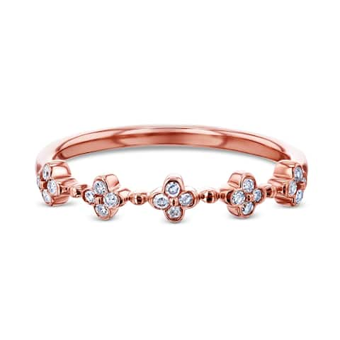 Annello by Kobelli 10k Rose Gold 1/10ct TDW Quad Cluster Diamond Pattern Slender Fashion Band