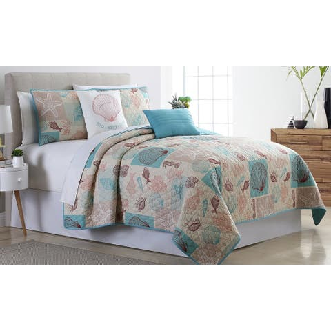 Modern Threads Cape Cod 5-Piece Reversible Quilted Coverlet Set