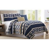 Amrapur Overseas Tribal Bands 5-Piece Reversible Quilted Coverlet Set