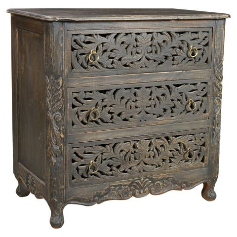 Aria Collection - 3 Drawer Carved Nightstand
