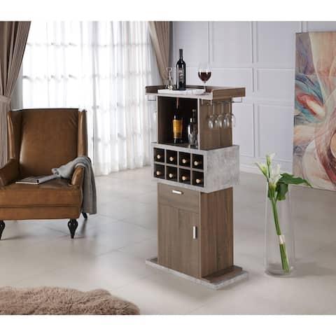 Furniture of America Fula Modern Brown 8-Bottle Cabinet Wine Cabinet