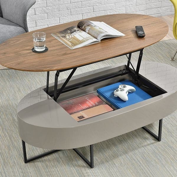 Hansel Walnut Oval Lift Top Coffee Table Free