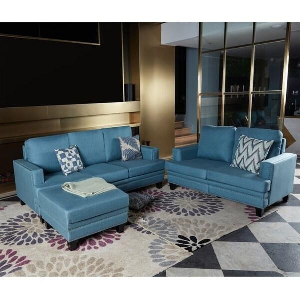 LOKATSE Indoor Upholstery 3-Seater plus Loveseat Sofa with Ottoman Set