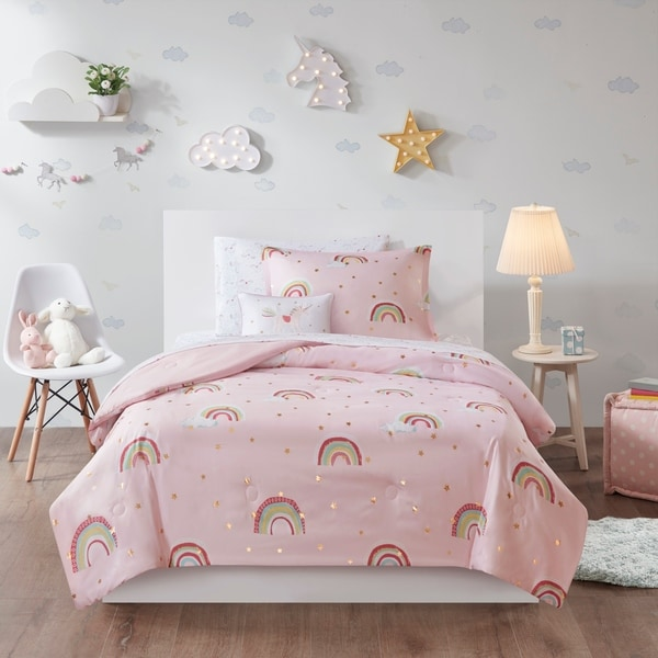 Mi Zone Kids Mia Pink Rainbow with Metallic Printed Stars Complete Bed and Sheet Set