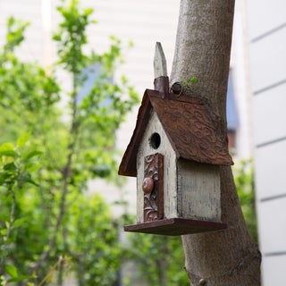 Glitzhome Hanging Distressed Solid Wood Garden Birdhouse